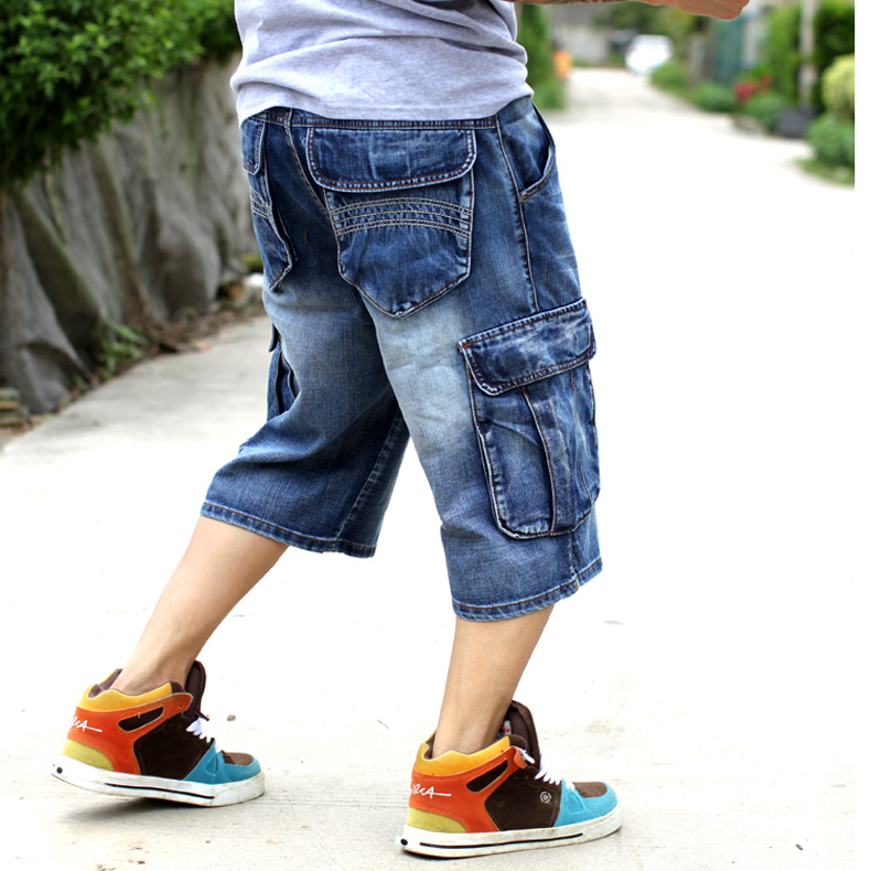 Fashion men casual multi pocket capris jeans hiphop street loose plus size skateboard pants capris