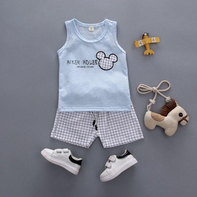 545259a62 boy girl Clothing sets summer Children vest+Pants 2pcs baby boys girls  Mickey pattern Cute