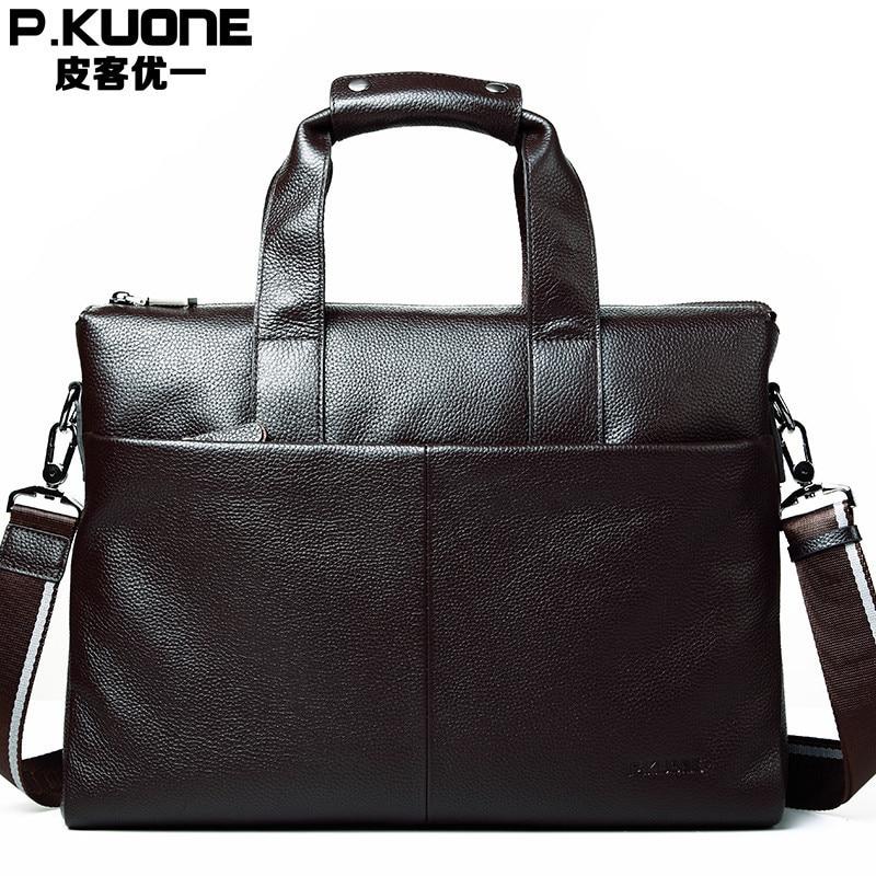 2017 P.KUONE Men Genuine Leather Simple Cowhide handbags men's Business Crossbody Shoulder Briefcase soft  Laptop  Messenger bag