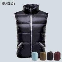Markeless 2016 Slim Mens Down Vest 90 White Duck Down Vest For Man Autumn And Winter