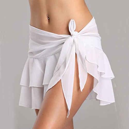 بيكيني التستر انظر من خلال فستان شاطئ قصير ملابس السباحة صوفية التفاف تنورة ملابس السباحة ملابس للنساء