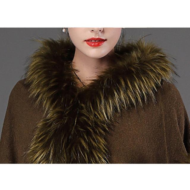 2018 Autumn Winter Women's knit Cape Shawl Coat Hooded Top Faux raccoon fur edge Cardigan Cloak Loose Female Sweaters OKXGNZ2057 10