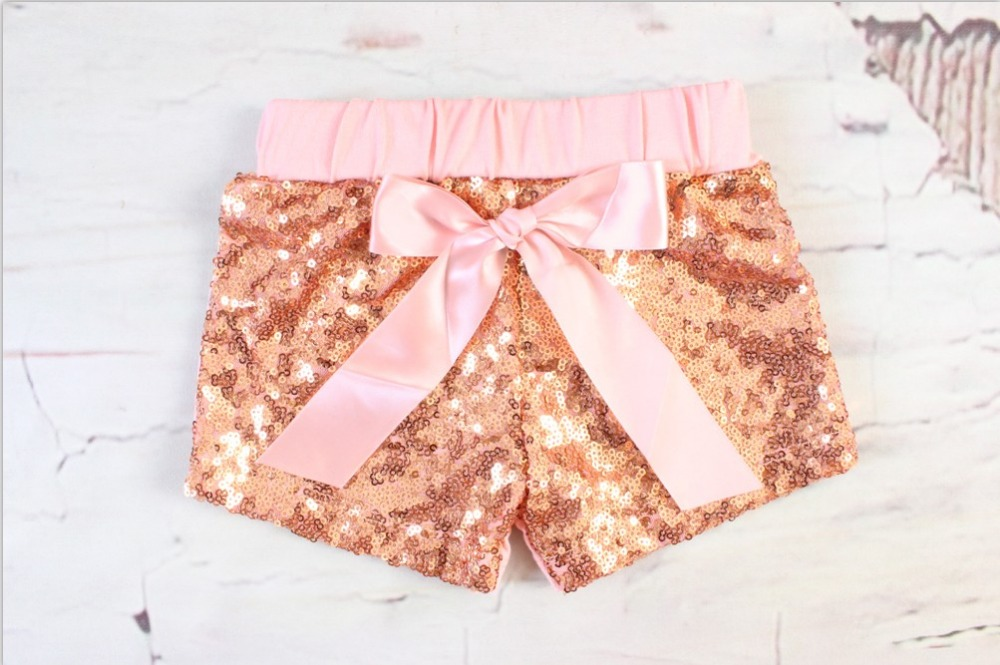 Baby Rose Sequin Shorts for Girl Birthday Outfit Sequin Girls Party Shorts Rose Gold Glittery Bead piece Girl Shorts kids pants