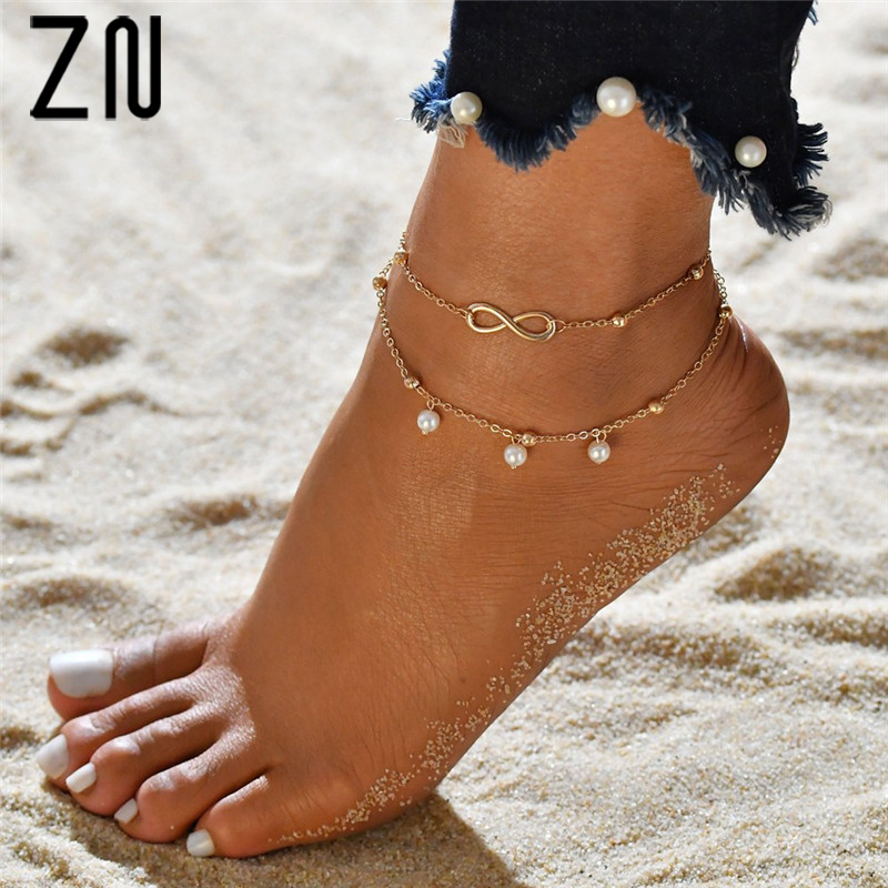 ZN Fashion Hot Imitation Pearl 8 Character Anklet Jewelry Handmade Beaded Double Anklet Bracelet For Women Gift