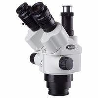 AmScope 7X 45X Simul Focal Trinocular Zoom Stereo Microscope Head