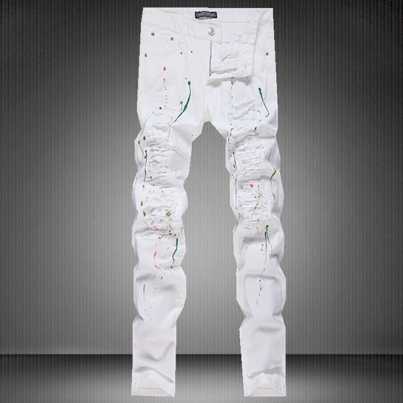 Popular White Jeans Men with Cuts-Buy Cheap White Jeans Men with