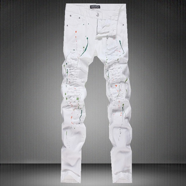 7ae5a529bb0 New Summer Men's Straight Denim White Jeans Cut Paint Splashed Hole  Graffiti Jeans Leg Fitted Mens Slim Jeans
