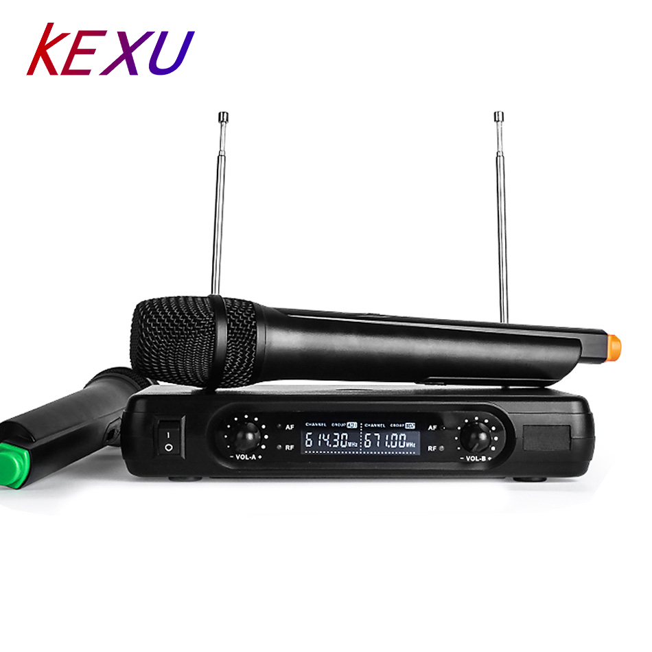 KEXU Dual Handheld VHF Wireless Microphones Dynamic LCD Receiver System For Karaoke KTV Party Speech Performances