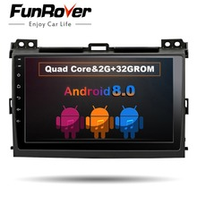 Funrover android 8.0 Car DVD Player for Toyota Prado 120 Land Cruiser 2004-2009 2din Car Radio GPS Navigation Multimedia Player