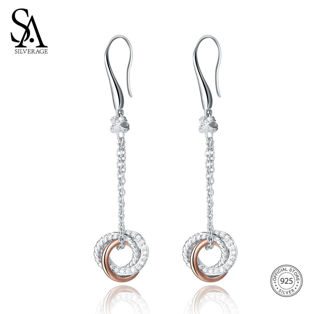 SA SILVERAGE 925 Sterling Silver Drop Earrings for Women Fine Jewelry Rose Gold Color Long Silver 925 Earrings Women Brincos