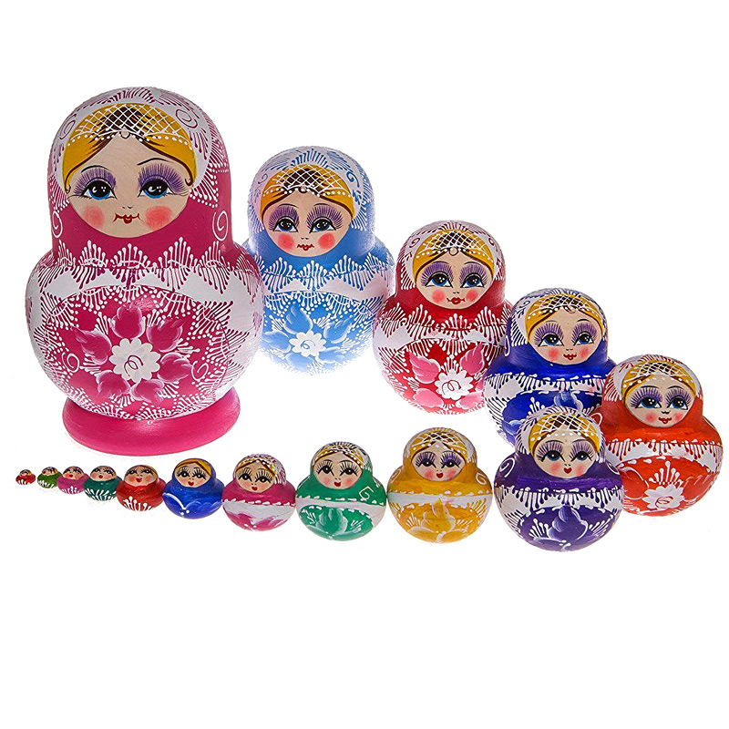 15pcs Beautiful Russia Matryoshka Dolls Handmade Wooden Nesting Dolls Gift Wishing Toys @Z135