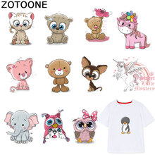 ZOTOONE Cute Cat Unicorn Patches Animal Diy Sticker Iron on Transfers for Clothes T-shirt Heat Transfer Accessory Appliques F1