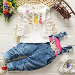 BibiCola baby girl clothes sets Autumn&spring Fashion cotton Cartoon cat T-shirt+pants newborn baby girls clothing set