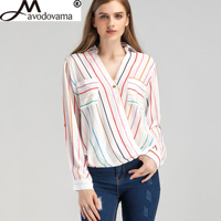 Avodovama M Sexy Casual Chiffon V Neck Long Sleeve Spring Summer Tops Blouse Fashion Rainbow Striped