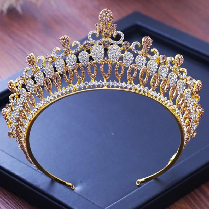 Gold Bridal Tiara Encrusted with Crystals-Wedding Hair Accessories,Brides Hair Jewellery-Gold Wedding Crown-Tiaras for Brides-Pearl Tiara