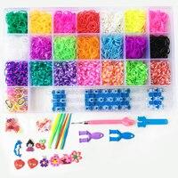 Eğlenceli glitter Şeffaf Kutu DIY fishtail starburst tezgah kanca bantları bilezikler meslekler Çocuklar için oyuncaklar 4400 adet/22 renk