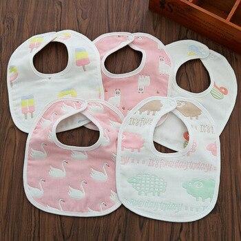 10PCS Newborn Baby Bibs Infant Towels For Girls Boys baberos bebe Babadores Cotton Bib 6 Layers фото