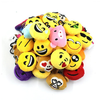 For Emoji Keyrings 44 Pieces/Pack, Lovely Mini Plush KeyChains 2 inch for Kids Gift 2