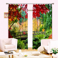 Small Bridge In Forest 3D Painting Blackout Curtains Office Bedding Room Living Room Sunshade Window 3D Curtains Bedding Set
