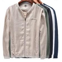 High quality 100% linen 2019 Autumn Fashion mens long sleeve jackets casual clothing coats zipper outerwear M-3XL