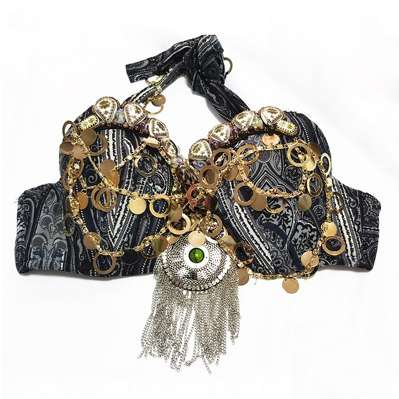 2018 New Tribal Bellydance Clothing Coin Antique Gold Metallic Chain Tassels C/D CUP Vintage Gypsy Belly Dance Coins Bra