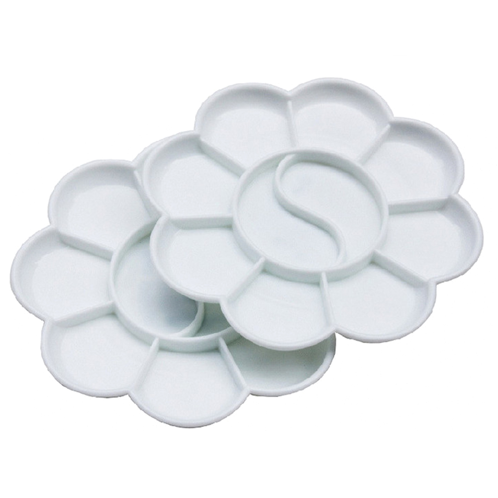 8 Petals MINI Paint Tray Plastic Small Color Palette Artist Watercolor Painting Supply Painting Tool Art Alternatives White