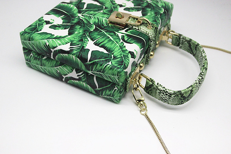 18 Women messenger bags Brand New Elegant Spring Summer Shoulder diagonal Box Bag Woman leave Print art Clutch banquet Handbag 7