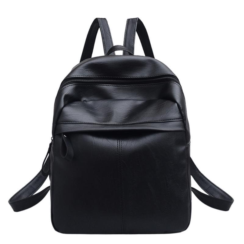 Women Simpel Solid Backpacks For Teen Girls Shoulder Bag Female Zipper School Rucksack Preppy Style Mochila Brand Fashion