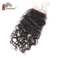 цена на Sunnymay Closure Brazilian Hair Water Wave 4x4 Lace Closure Beauty Forever Hair Bleached Knots Human Hair Closure