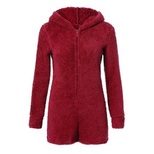 Women s Hooded soft and comfortable Autumn Cute Shorts Rompers Home Service Jumpsuit L50 0115