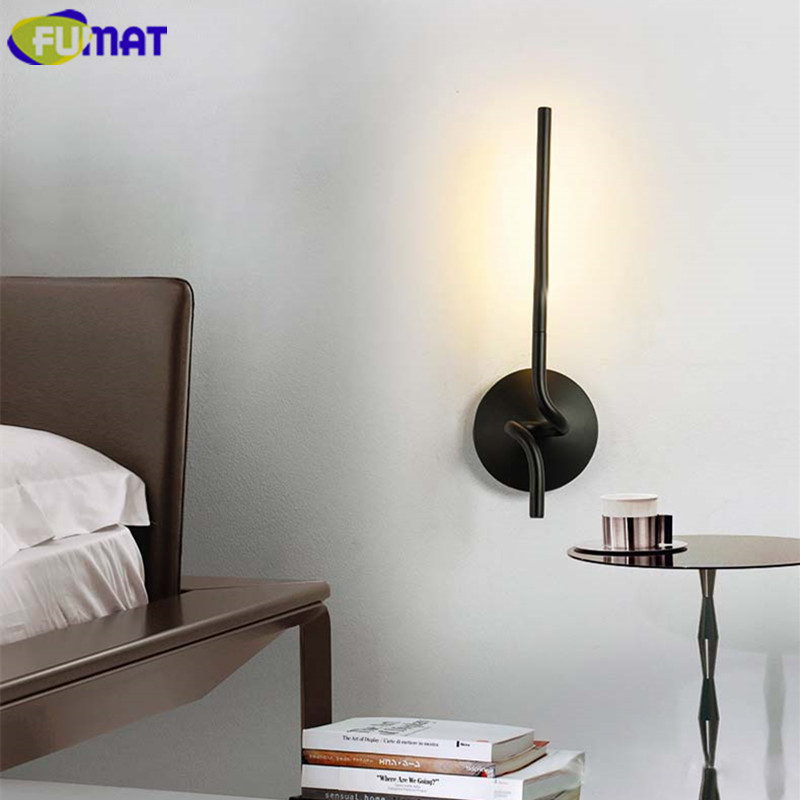 FUMAT Wall Lamps Modern Nordic Bedroom Bedside Light Stairs Aisle Sconces Metal Art Deco Wall Light Black LED Wall Lamp modern magie glass ball led wall lamps art deco led wall lights bedroom bedside wall socnces light fixtures home decor luminaire