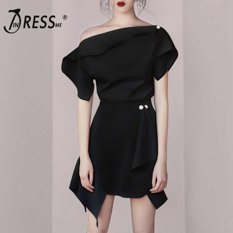 INDRESSME 2019 New Women Asymmetrical Bustline Off the Shoulder Pearl Button Bodycon Mini Dress Lady Clubwear