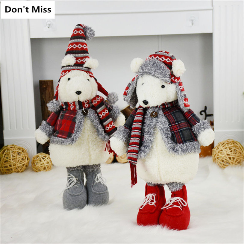 Xmas Decor 55cm Standing Large Bear Doll Christmas Dolls New Year Birthday Gifts Plush Bear Toys Christmas Decoration Ornaments