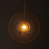 Бамбук люстра лампа строку и Ветер Северный стиль моды натуральная