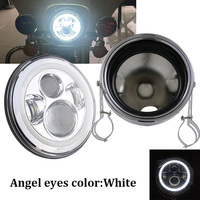 7 LED Headlight 2004 2014 Sportster XL883 XL1200 7 inch headlamp DRL Angel eyes halo with headlights housing bucket for Harley