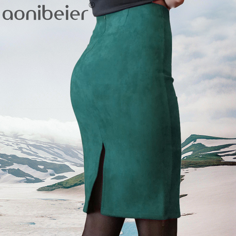 Aonibeier Pencil-Skirt Split Suede Bodycon Thick Female Vintage Stretchy Autumn High-Waist