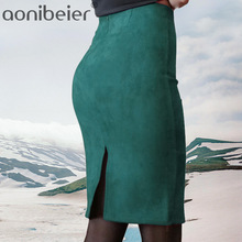 Aonibeier Women Suede Solid Color Pencil Skirt Female Autumn Winter High Waist Bodycon Vintage Split Thick
