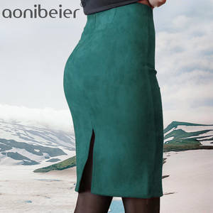 Aonibeier Women Pencil Skirt Female High Waist Vintage