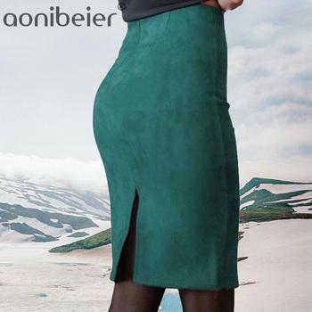 Aonibeier kobiety zamszowe stałe kolorowy ołówek spódnica kobiet jesień zima wysokiej talii Bodycon Vintage podział grube rozciągliwe spódnice tanie i dobre opinie Poliester Mikrofibra CN (pochodzenie) Osób w wieku 18-35 lat NONE WOMEN C86412 empire Na co dzień Kolan Spring Summer Autumn Winter