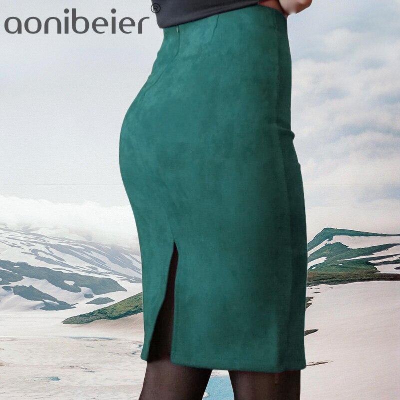 Aonibeier las mujeres de Color sólido lápiz Falda Mujer Otoño Invierno alta cintura Bodycon Vintage Split gruesa elástica faldas