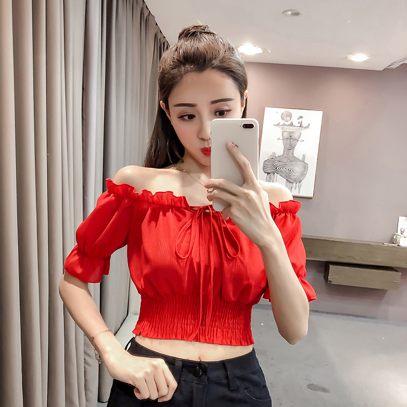 shintimes White Chiffon Blouse Shirt Tops 2019 Bow Short Sleeve Summer Tops Women Blouses Slash Neck Casual Womens Ladies Shirts in Blouses amp Shirts from Women 39 s Clothing