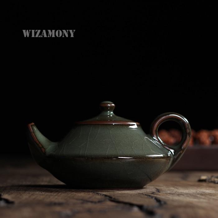 WIZAMONY çay dəsti Crackle Glaze Longquan Celadon Zisha Keramika - Mətbəx, yemək otağı və barı