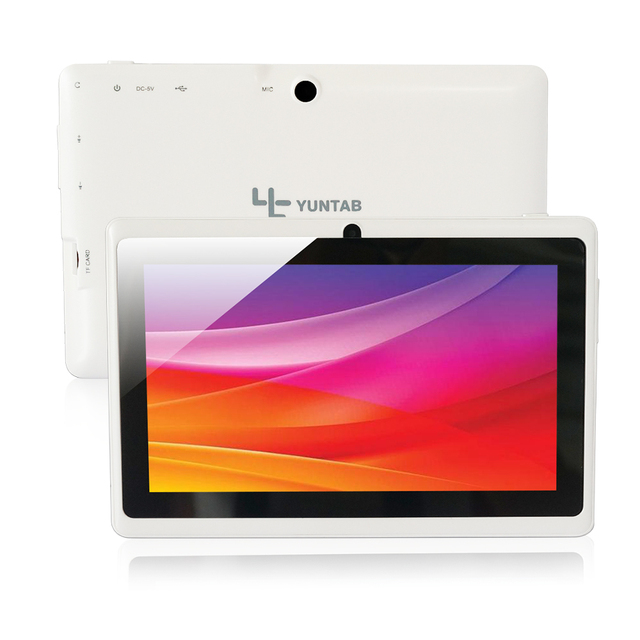 Yuntab Q88 7 Дюймов Wifi Белый Цвет Tablet Android 4.4, Quad Core, 8 Г ROM 1 Г RAM, Двойная Камера, внешний 3 Г, Allwinner A33 tablet