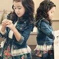 Детская одежда девочка джинсовой верхняя одежда, хорошее качество хлопкового кружева джинсовые пальто, бесплатная доставка детская одежда!