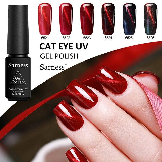 Sarness DIY 3D Fire Red Cat Eyes Gel Nail Polish Cat Eyes Nail Art Magical Colors Magnet Gel Lucky 7ml Soak Off UV Gel Varnish