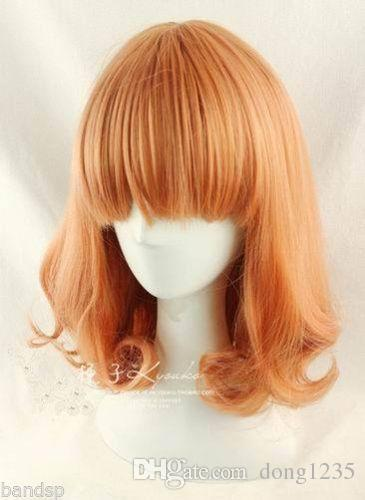Free shipping New High Quality Fashion Picture wig >>HOT ! New Fashion Medium Orange Mix Curly Cosplay BOB Wavy Wig new wig cosplay ice blue curly split type wig page 5