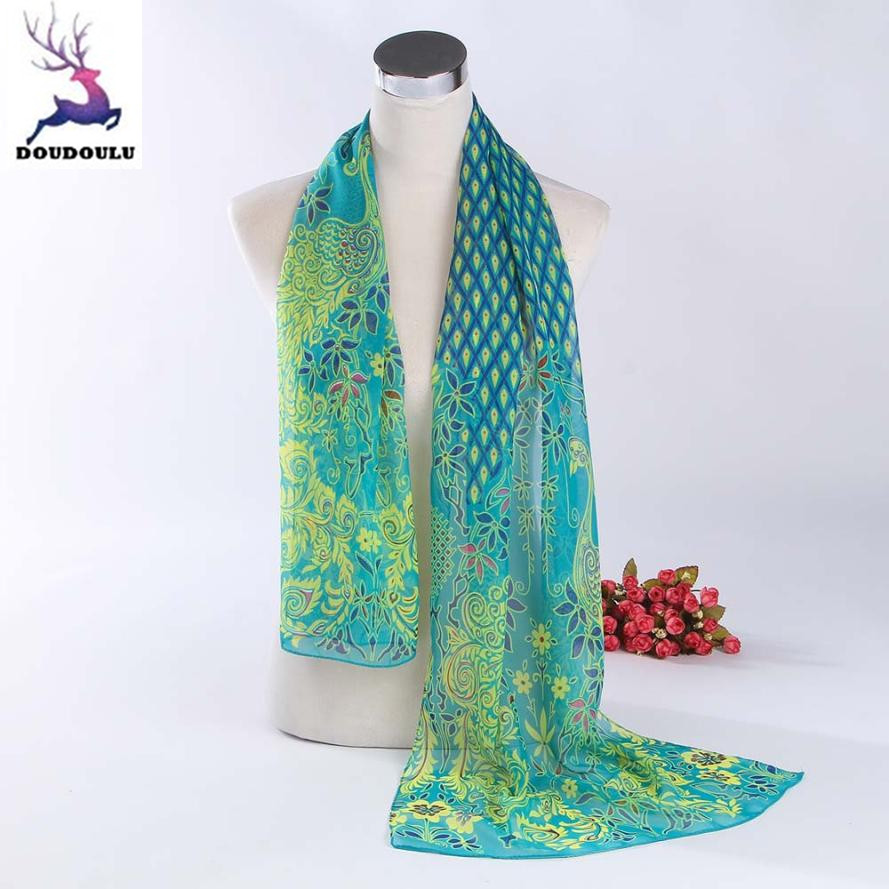 Apparel Accessories 90*180cm New Fashion Silk Scarf Green Peacock Feather Print Scarf Sunscreen Beach Towel Shawl Sk025-my Selling Well All Over The World