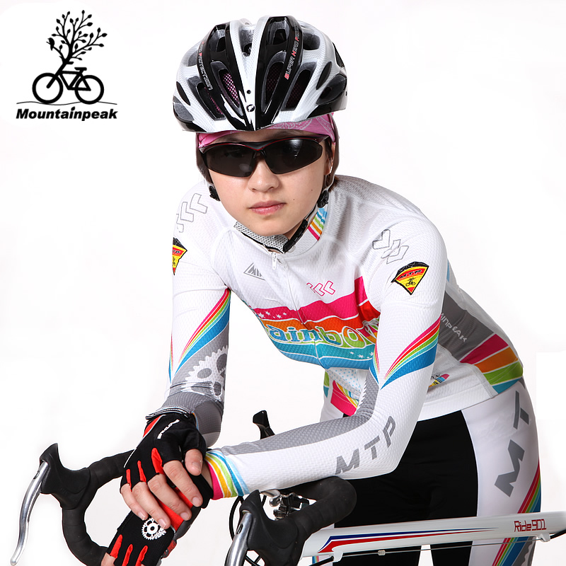 ФОТО MTP Rainbow Women's Cycling Wear Long Sleeved Pants, Trousers, Women's Spring and Summer Riding Equipment