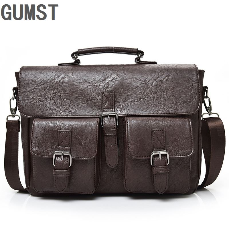 GUMST Multifunctional Men Shoulder Diagonal Bag Business Briefcase Pu Leather Mens Fashion 14 Inch Bags