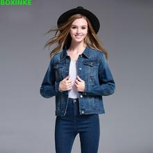 Casaco Solid Button Jacket Feminino Increase Code Womens Jeans Coat  Spring And Autumn New Big Female Cowboy Fat Mm Loose